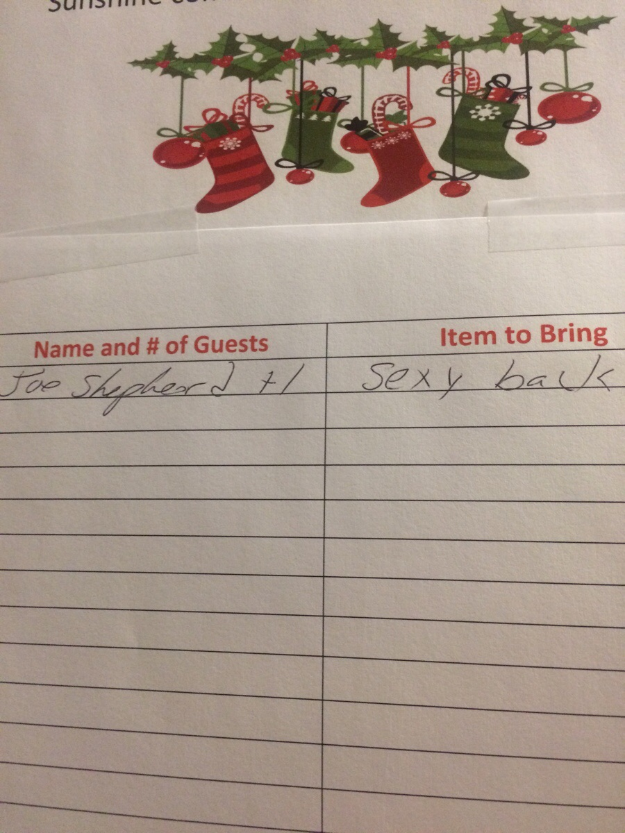 Retail Hell Underground The Work Christmas Party Sign Up Sheet Gets Its First Guest