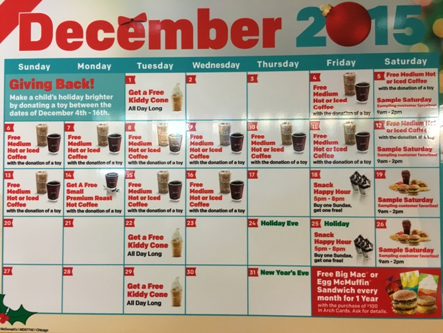 Mcdonalds Christmas Eve Hours.Retail Hell Underground Mcdonald S Promotional Calendar
