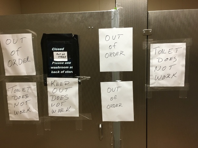 Retail Hell Underground Bathroom Signage Out Of Order Rage