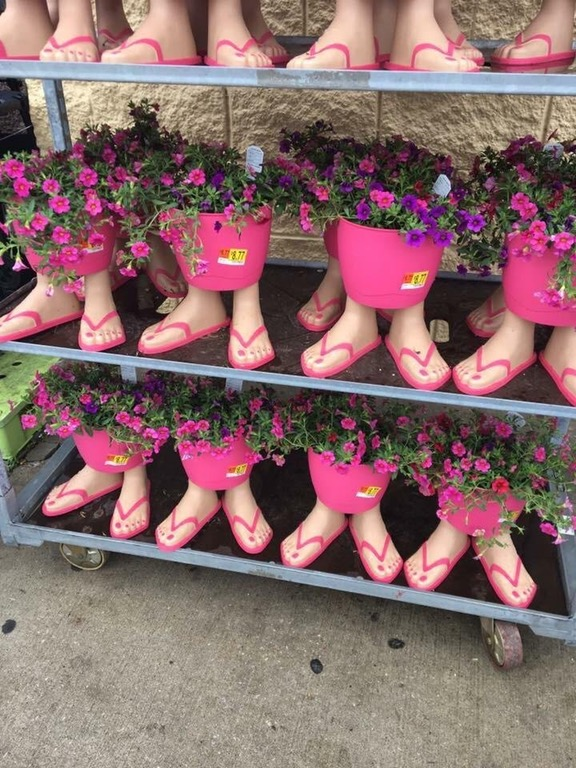 283682c07 I was going to post these scary flip flop flower pots as a